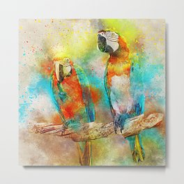 Abstract Parrots Metal Print