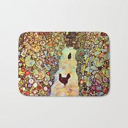 Gustav Klimt Garden with Roosters Bath Mat