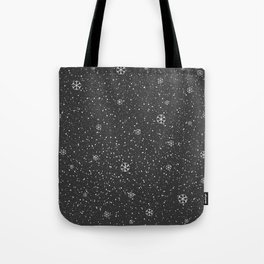 Winter Snowy Background fill with snow and snowflakes Tote Bag