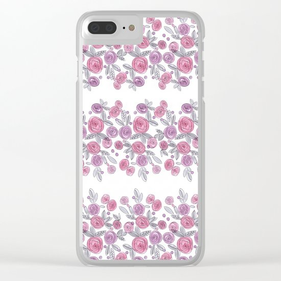 Bouquets of pink roses . Watercolor . Clear iPhone Case