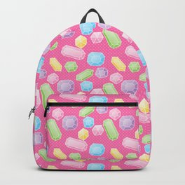 Colorful Doodle Gems Pattern on a Bright Pink Background Backpack