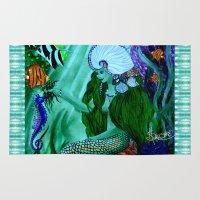 little mermaid Area & Throw Rugs featuring Little Mermaid. by Sylvie Heasman