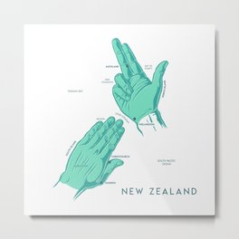 Handy New Zealand Map Metal Print