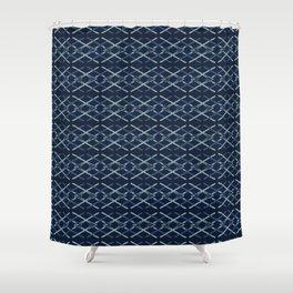 Woven Ribbon Indigo Criss Cross Lines Shower Curtain