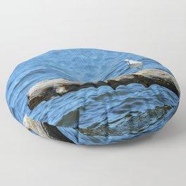 Seagull on Driftwood Floor Pillow