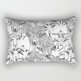 just goats black white Rectangular Pillow