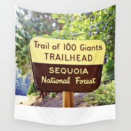 Trail of 100 Giants Vintage National Forest Sign Wall Tapestry
