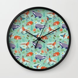 Woodland Animals on Green Wall Clock