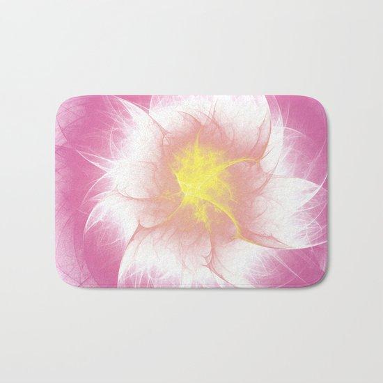 Pink Flower Fractal Bath Mat