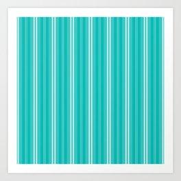Aqua Blue Shades Pinstripes Art Print