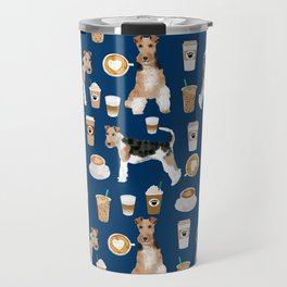 Wire Fox Terrier coffee dog pattern dog lover gifts for dog person dog breeds pet friendly Travel Mug