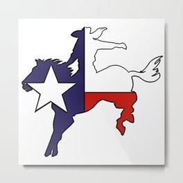 Texas flag bucking bronco horse cowboy Metal Print