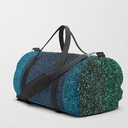 Glitter Green Blue Squares Duffle Bag
