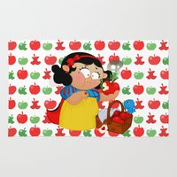 snow white Area & Throw Rugs featuring Snow White (apple) by Alapapaju