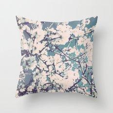 spring mediterranean almond flowers Throw Pillow