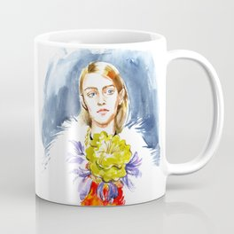 fashion #1. girl's portrait in a fur coat and a floral necklace around his neck Coffee Mug