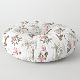 Pink and White Vintage Floral Pattern Floor Pillow