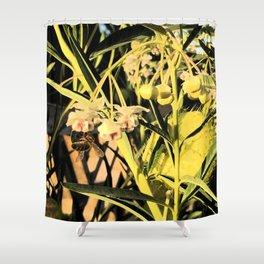 Pufferfish Milkweed & Bee Fresco Shower Curtain