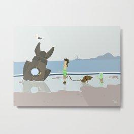 Alien Ship Beach Wall Art, Beach Art Nursery Decor, Nursery Wall Art for Boys Room Metal Print