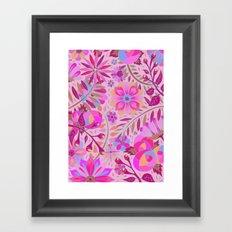 Bright Pink Floral Framed Art Print