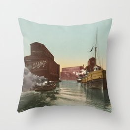 South Branch of the Chicago River at 14th Street 1900 Throw Pillow