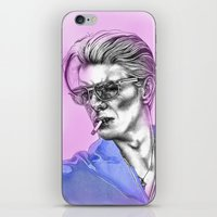 bowie iPhone & iPod Skins featuring Bowie  by Lucy Schmidt Art