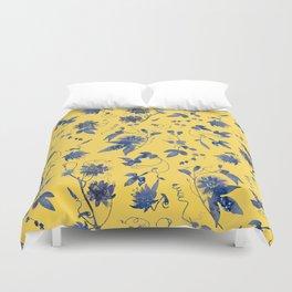 Elegant Blue Passion Flower on Mustard Yellow Duvet Cover