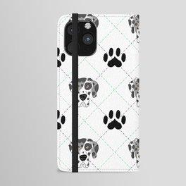 Merle Great Dane Paw Print Pattern iPhone Wallet Case