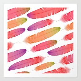 Colorful seamless feather vector pattern Art Print