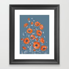 Red poppies in grey Framed Art Print