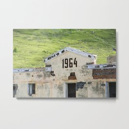 1964. Buildings of the old abandoned mercury mine Aktash. Altai Mountains, Siberia, Russia. Metal Print