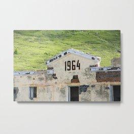 1964. Buildings of the old abandoned mercury mine Aktash. Altai Mountains, Siberia, Russia. Metal Print