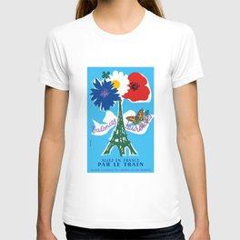 1954 France Happy Holidays Railway Travel Poster T-shirt