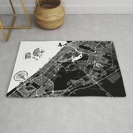 Black City Map of Dubai, UAE Rug