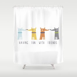 Having fun with Friends Shower Curtain