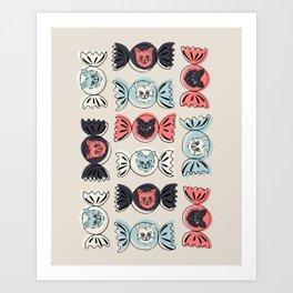 Spooky cat candy seamless pattern Art Print