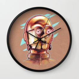 Golden Robot C3PO Wall Clock
