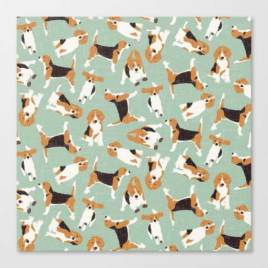 beagle scatter mint Canvas Print
