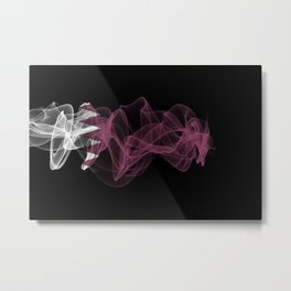 Qatar Smoke Flag on Black Background, Qatar flag Metal Print
