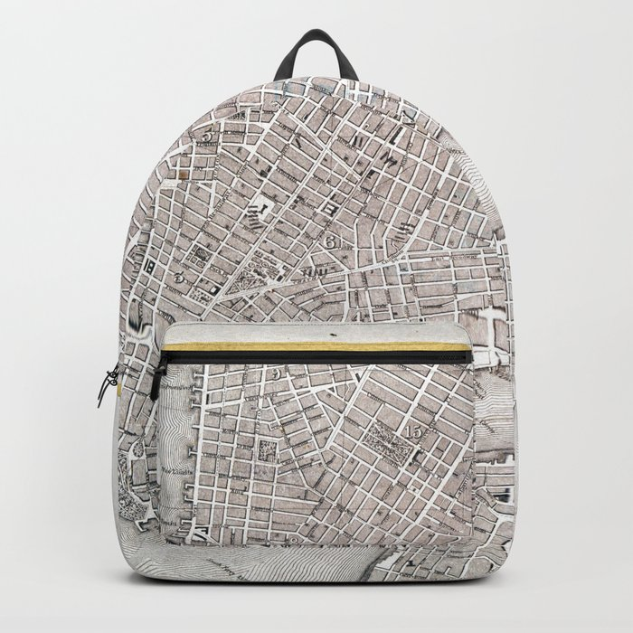 Vintage New York City Gold Foil Location Coordinates with map Backpack