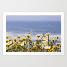 ocean and daisies Art Print