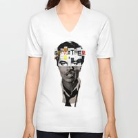godfather V-neck T-shirts featuring Godfather Mix 1 white by Marko Köppe