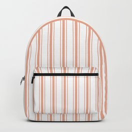 Large Shell Coral Peach Orange Mattress Ticking Stripes Backpack