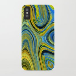Liquid Yellow And Blue iPhone Case