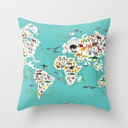 Cartoon animal world map for children and kids, Animals from all over the world back to school Throw Pillow