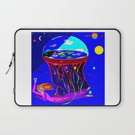 Spaceship Flat Earth Jellyfish Laptop Sleeve