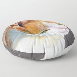 Young ginger and white cat (a343) Floor Pillow