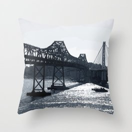 New and old bay bridge Throw Pillow