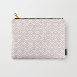 Elegant chic blush pink white scallop wave pattern Carry-All Pouch