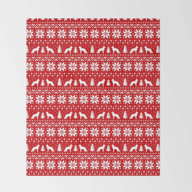 Christmas Sweater Pattern.German Shepherd Dog Silhouettes Christmas Sweater Pattern Throw Blanket